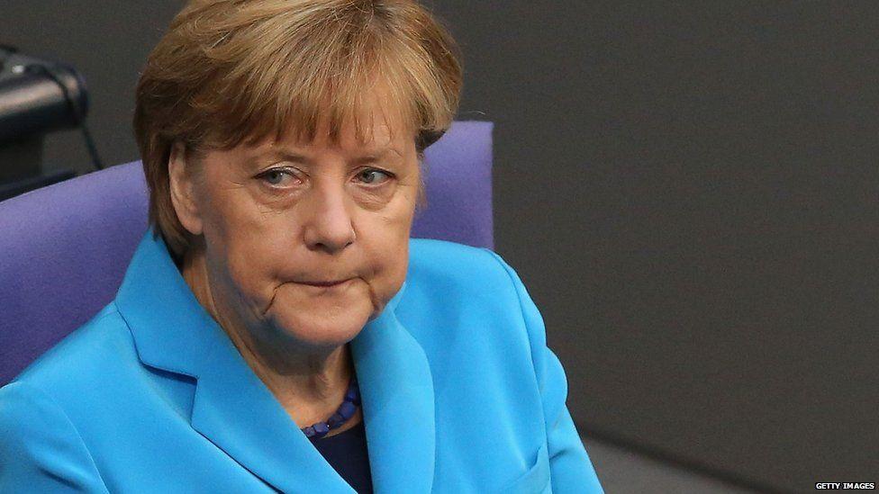 Angela Merkel at a session in the Bundestag, September 2015