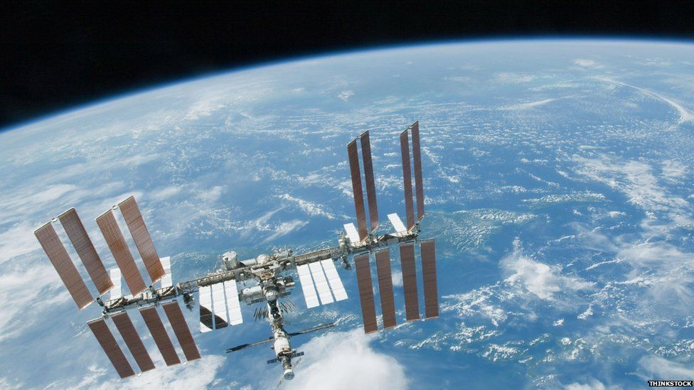 The ISS above the earth
