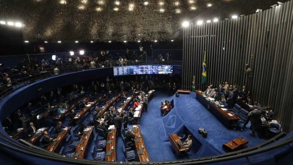 Brazil's Senate begins deliberating whether to permanently remove suspended President Dilma Rousseff from office, in Brasilia, Brazil, Thursday, Aug. 25, 2016.
