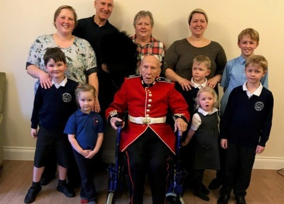 Leonard Boxall, who lives at Linden Court, Watton, Norfolk, surrounded by some of his family