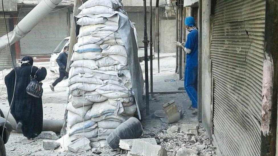 Photograph posted by Independent Doctors Association showing aftermath of air strike that damaged children's hospital in rebel-held Aleppo on 16 November 2016