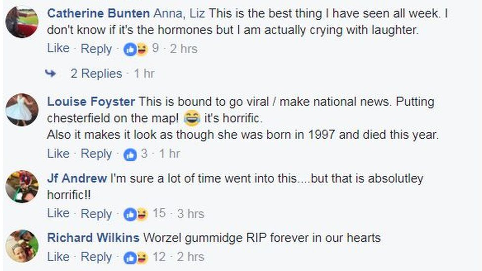 Facebook comments about the tribute