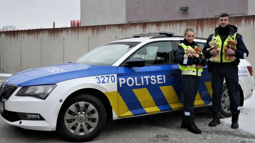 Estonian police with teddy bears to comfort children
