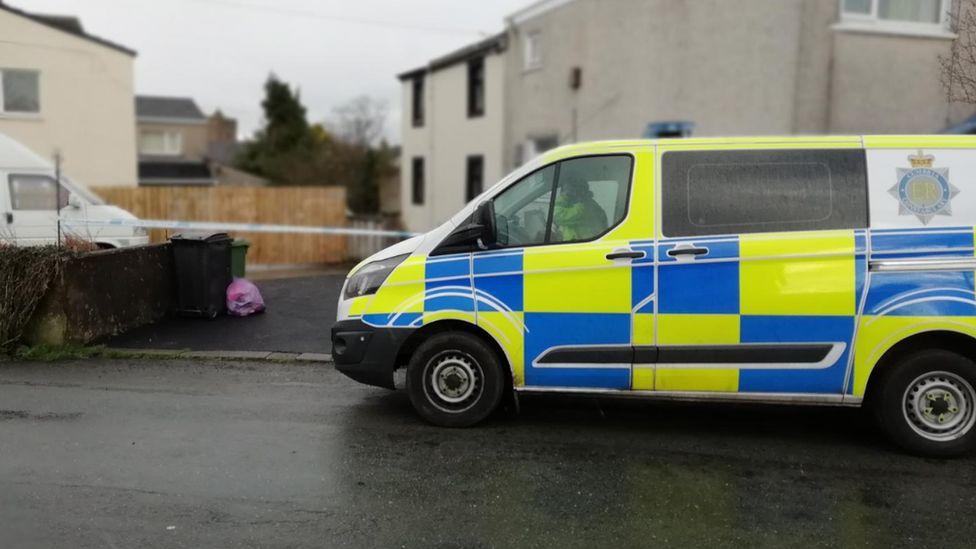 Police van at Main Street, Dearham, where Annie Sowerby was found badly hurt