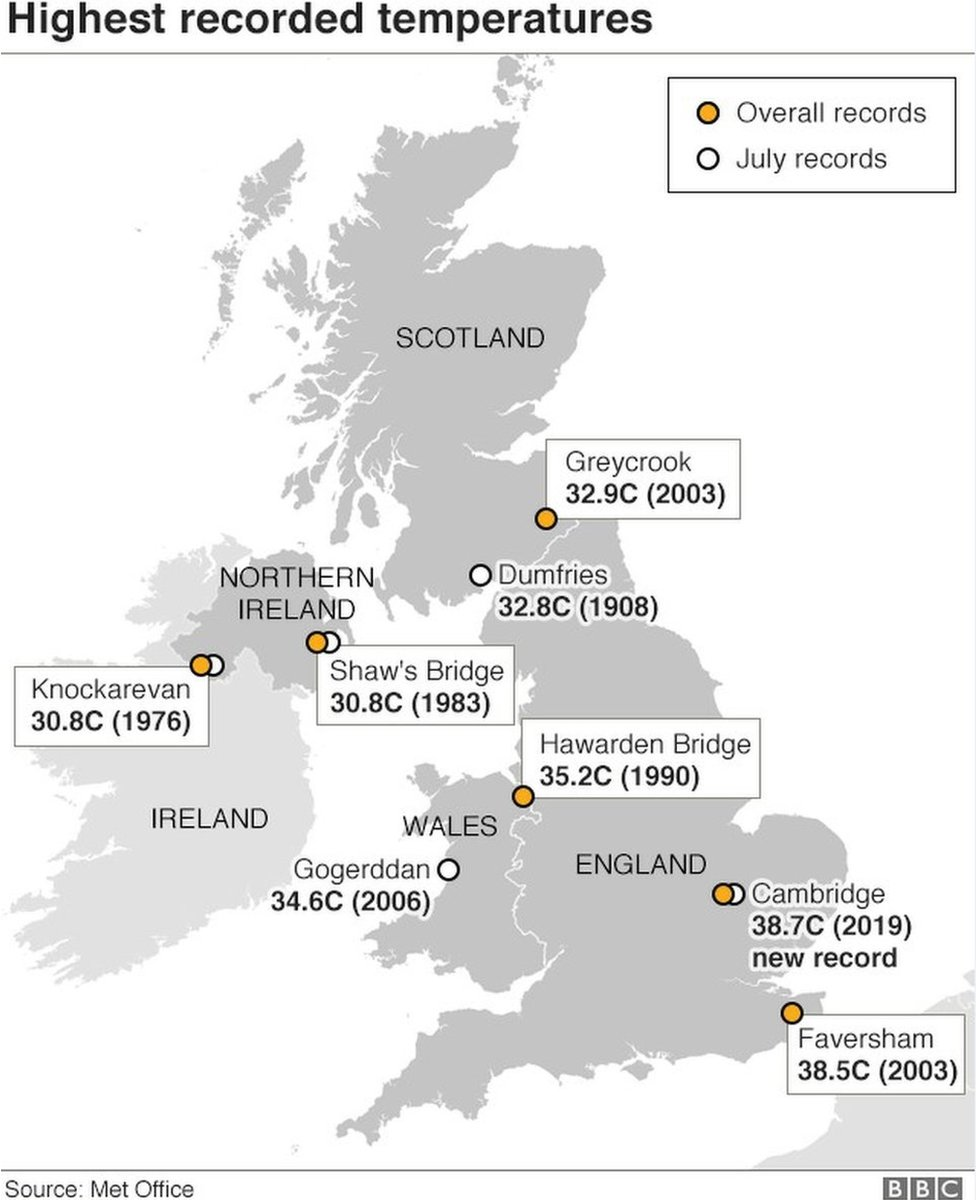 Map showing highest temperatures in Britain