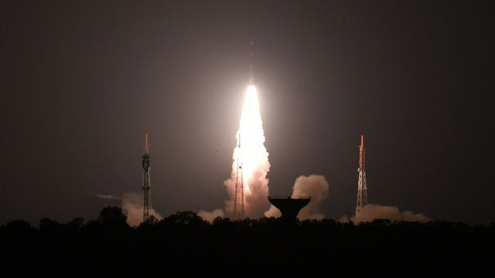 The Indian Space Research Organisation's (ISRO), Polar Satellite Launch Vehicle (PSLV-C44) launches off onboard India's Defence Research and Development Organisation's (DRDO) imaging satellite 'Microsat R' along with student satellite 'Kalamsat' at Satish Dhawan Space centre in Sriharikota, Andhra Pradesh state, on January 24 , 2019. (