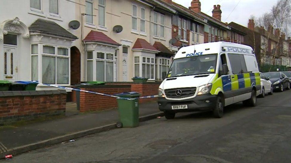 Police cordon outside a property on Oxford Road, Smethwick