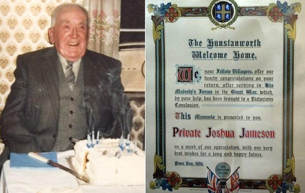 Joshua Jameson at 90 and his certifiate