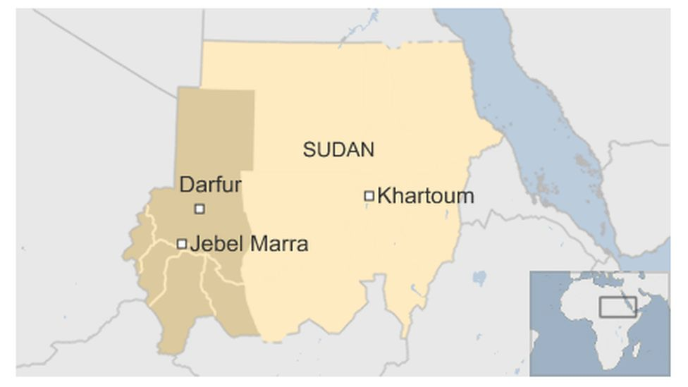 A map pinpointing where Jebel Marra is in Sudan