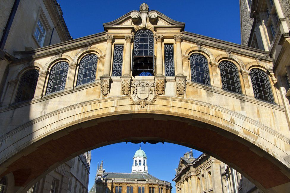 Hertford Bridge, or the Bridge of Sighs, linking two parts of Hertford College, Oxford