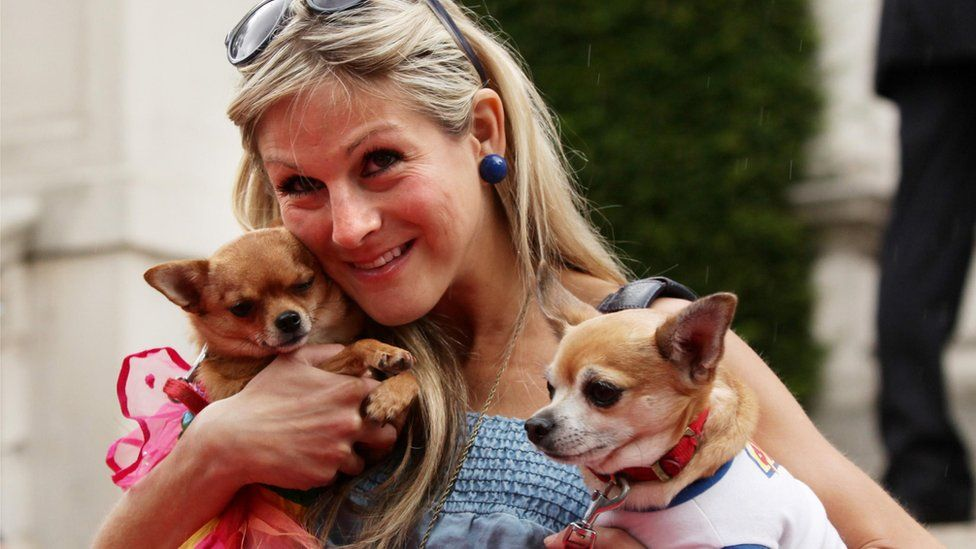 Nikki Grahame, with her dogs Baby and Thumbelina