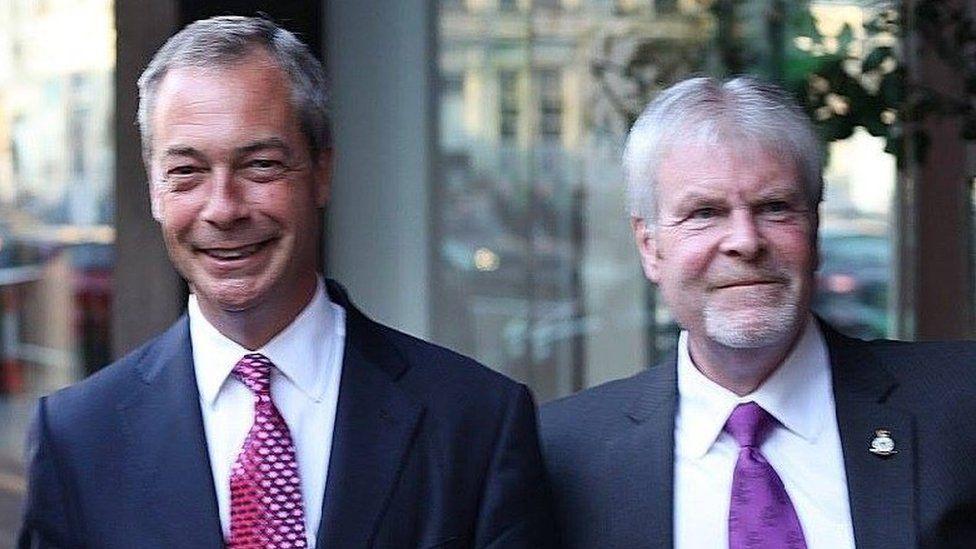 Stephen Searle with UKIP's Nigel Farage