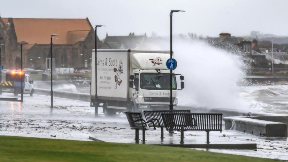Lorry getting battered by waves in Troon