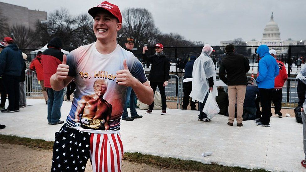 Man in 'No Hillary' T-shirt