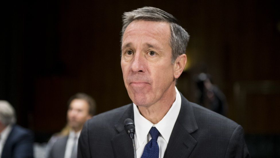 """Arne Sorenson, CEO of Marriott International, takes his seat for the Senate Homeland Security and Governmental Affairs Committee Investigations Subcommittee hearing on """"Examining Private Sector Data Breaches"""" on Thursday, March 7, 2019. ("""