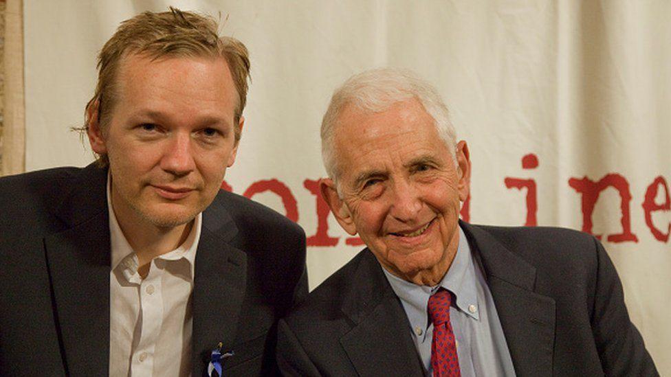 Julian Assange, founder of Wikileaks, meets with Daniel Ellsberg