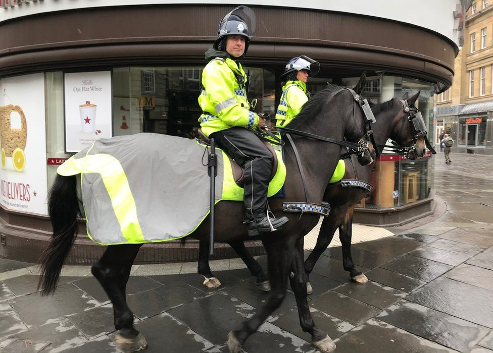 Mounted police near Monument in Newcastle