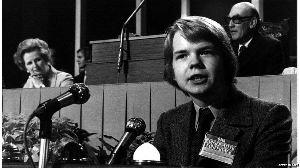 William Hague addressing the Conservative Party conference in 1977, watched by Margaret Thatcher