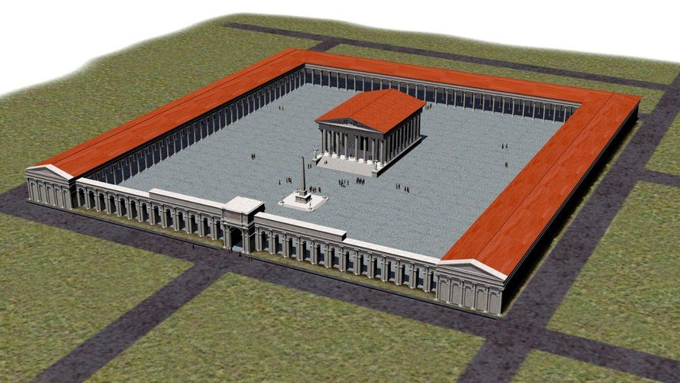Computer generated artist's impression of the Roman temple site