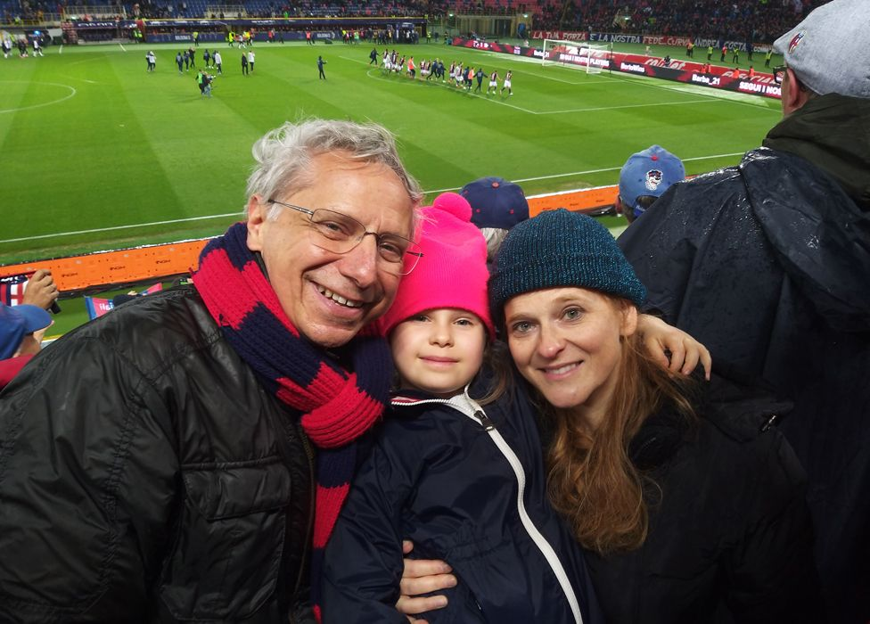 Andrea, Arianna and Dany in the Bologna stadium