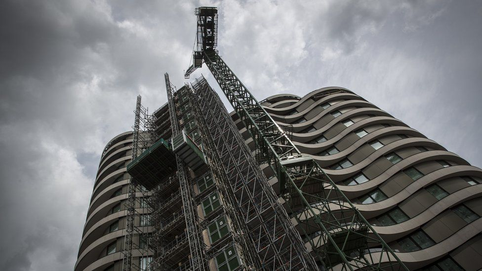 A luxury flat development under construction by the Thames in London
