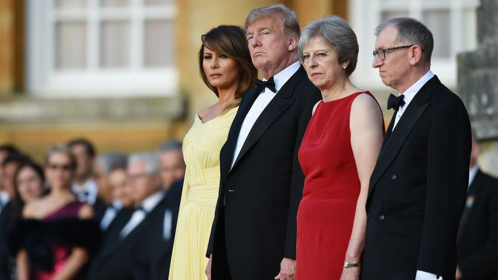 Donald Trump was greeted by Theresa May at Blenheim Palace