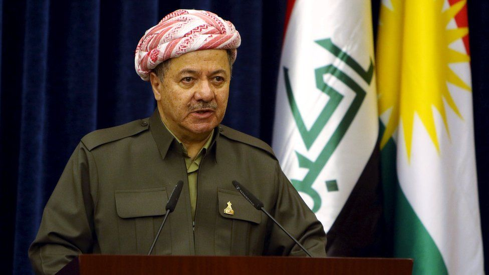 Massoud Barzani speaks at a news conference in Irbil (17 March 2016)