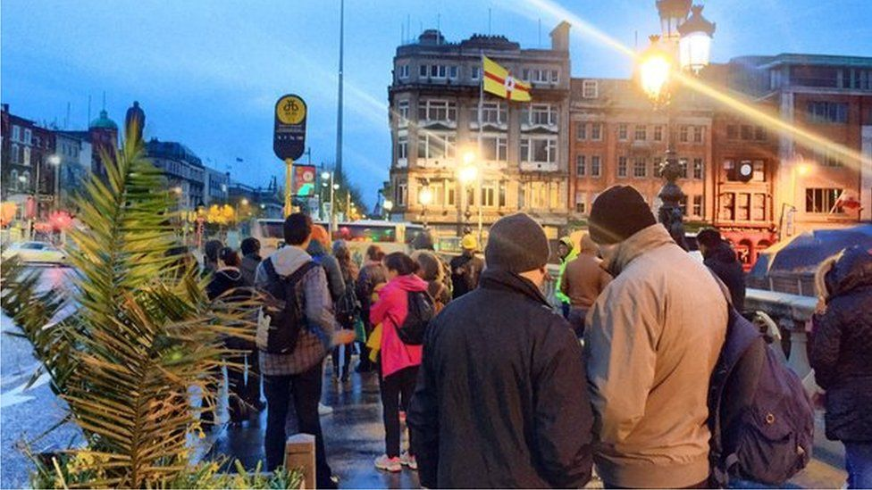 Passengers queuing for cancelled bus services in Dublin city centre