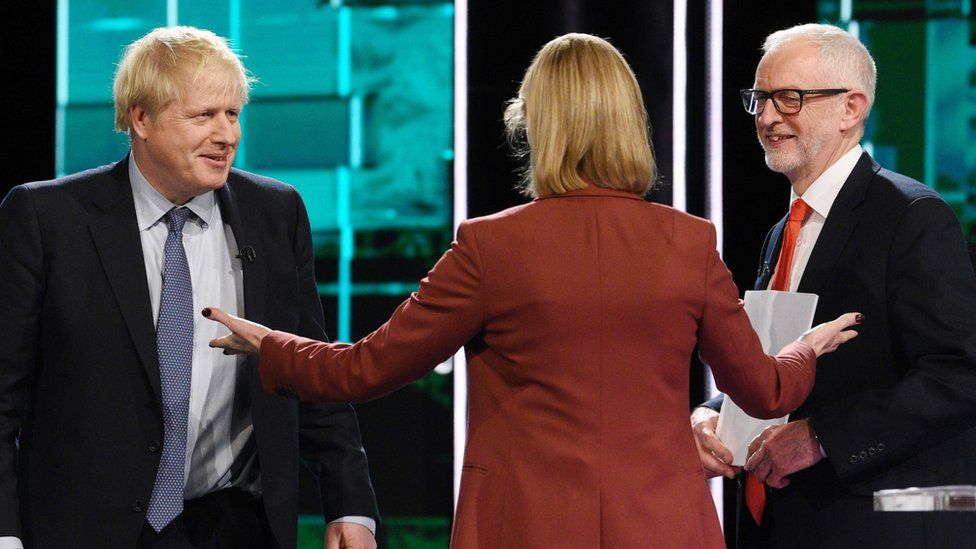 Boris Johnson, Julie Etchingham and Jeremy Corbyn