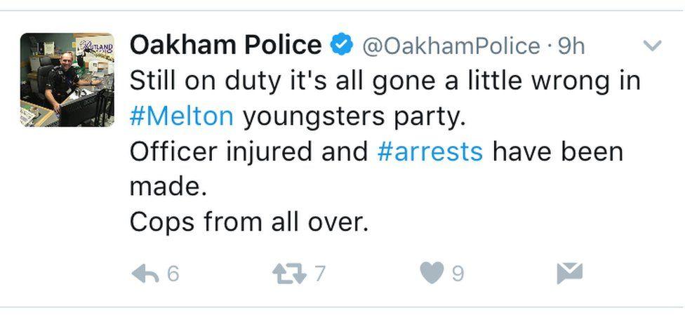 Oakham Police's tweet
