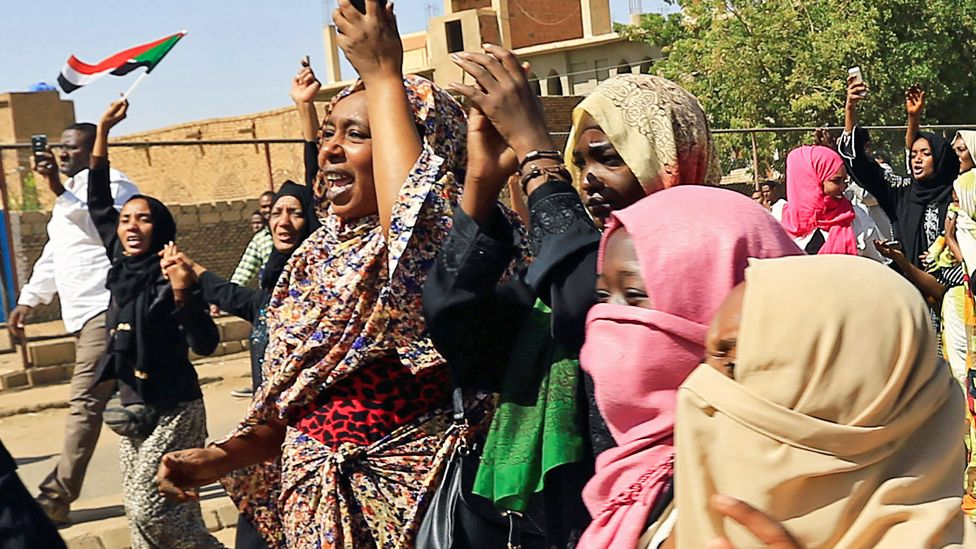 Women protesting in Khartoum, Sudan