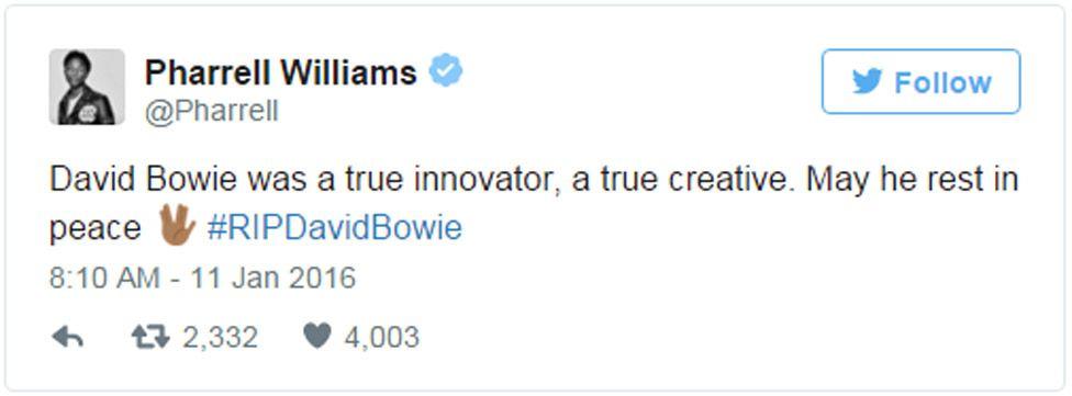 Pharrell Williams tweet: David Bowie was a true innovator, a true creative. May he rest in peace #RIPDavidBowie