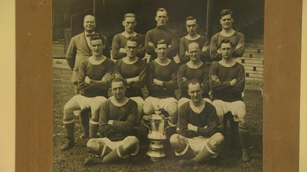 An team photo is among the items on display