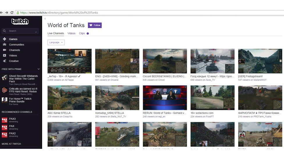 A screen grab from Twitch, a live streaming social video platform for gamers. The site say they have more than 9 million daily active users
