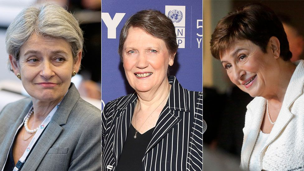 Candidates Irina Bokova (l), director general of Unesco; Helen Clark(c), former New Zealand prime minister; Kristalina Georgieva (r), European commissioner for budget and human resources