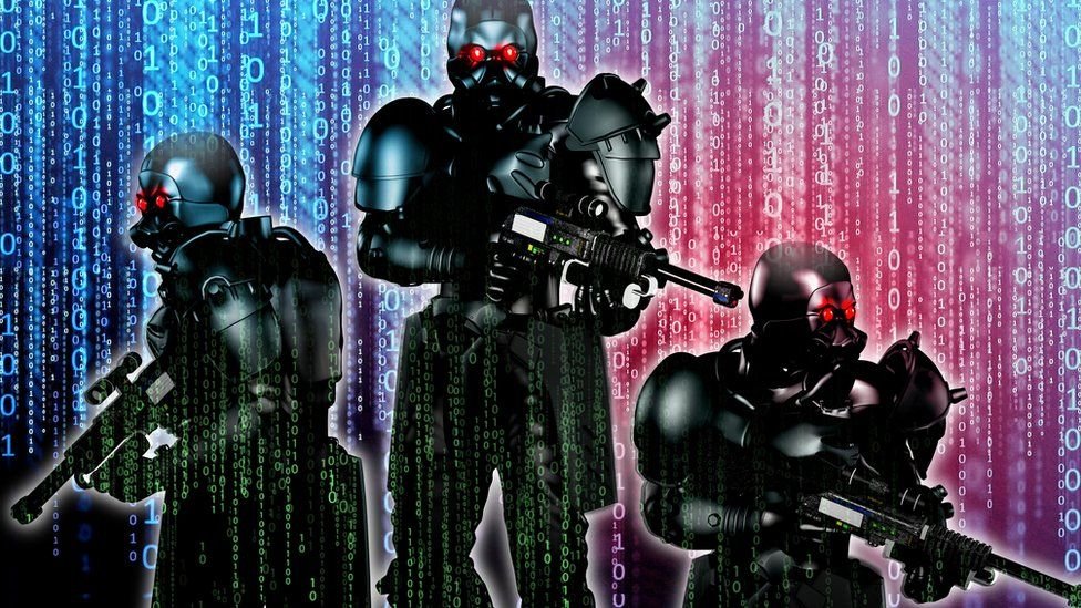 Concept of futuristic soldiers against digital background