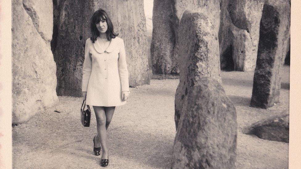 Woman at Stonehenge in 1970