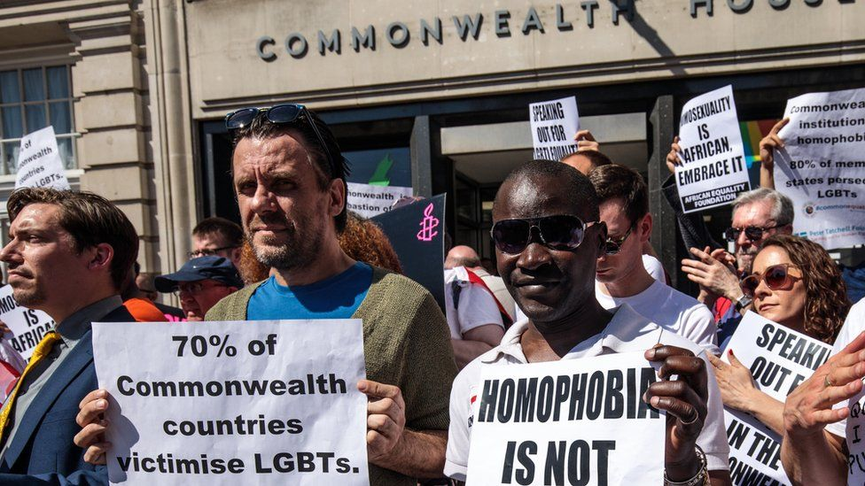 Gay rights protesters outside Commonwealth House on 19 April 2018.
