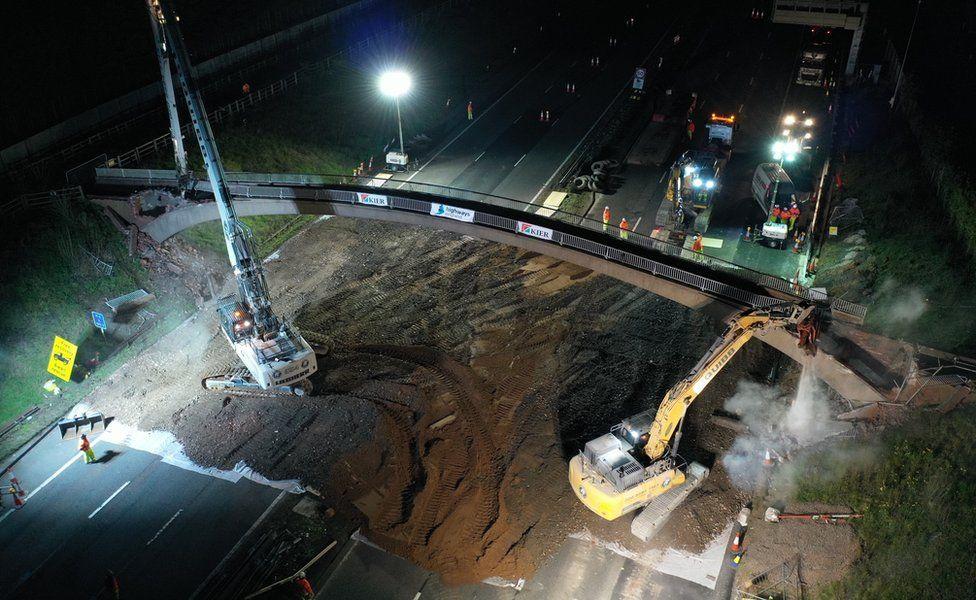 The bridge demolition getting under way