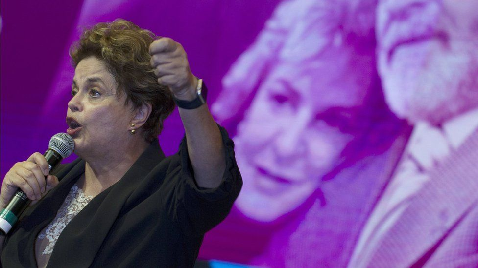 Former Brazilian President Dilma Rousseff participates in the sixth National Congress of the workers party (PT), in Brasilia, June 2017