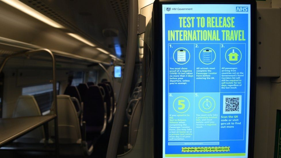All travellers arriving in the UK will need to show proof of a negative Covid-19 test