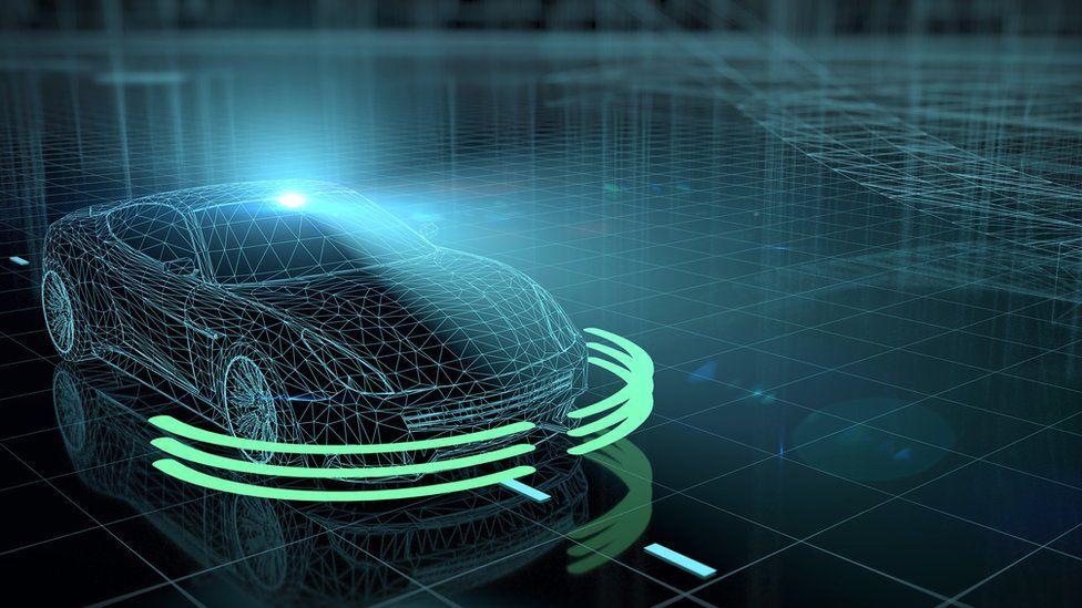 Computer graphic showing a futuristic car