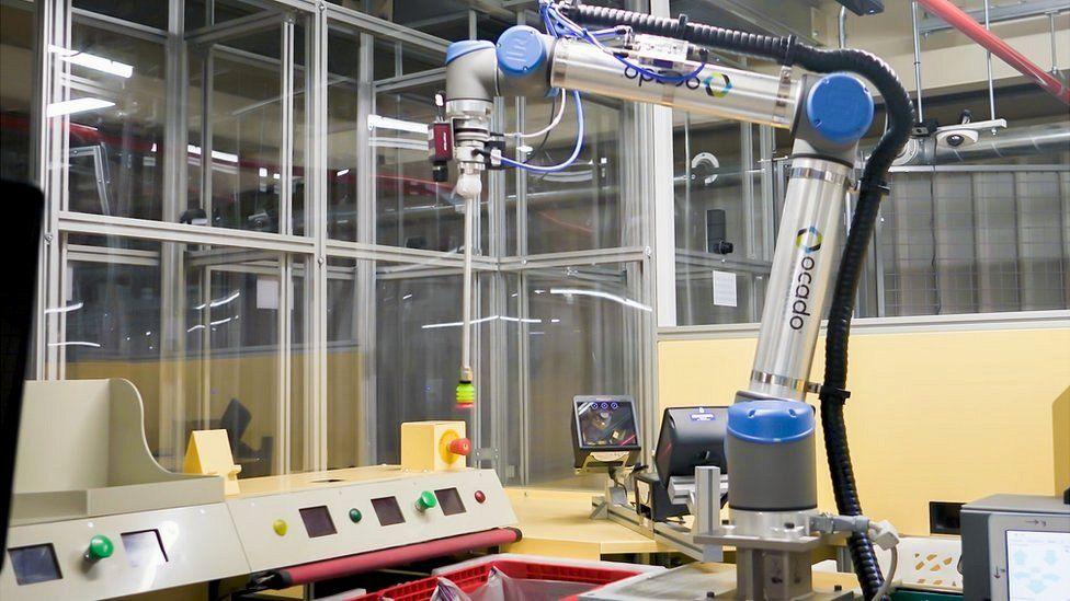 An Ocado warehouse robot