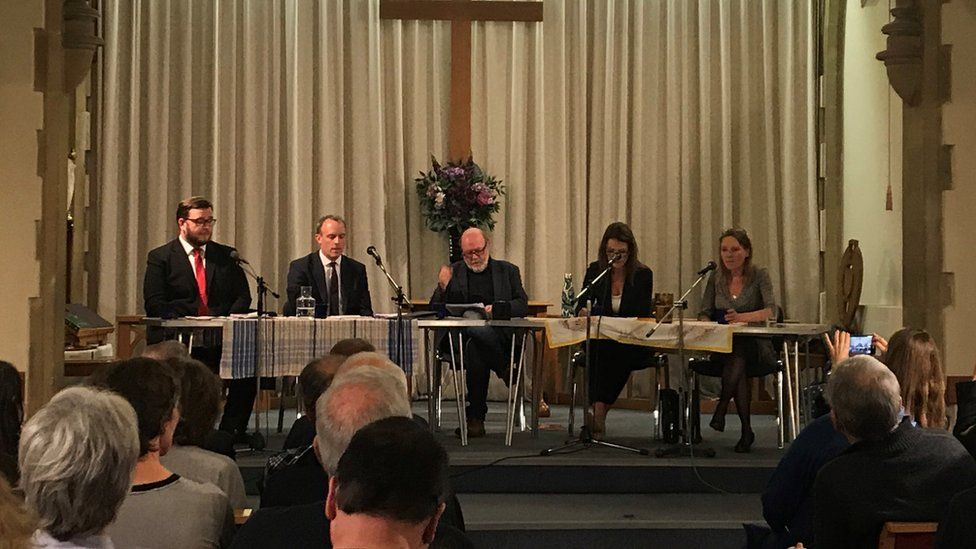 Foreign Secretary Dominic Raab (centre left) attends a hustings at East Molesey Methodist Church in his constituency in East Molesey. Also attending are Labour candidate, Peter Ashurst (far left), Liberal Democrat candidate Monica Harding (centre right) and independent candidate, Kylie Keens (far right).