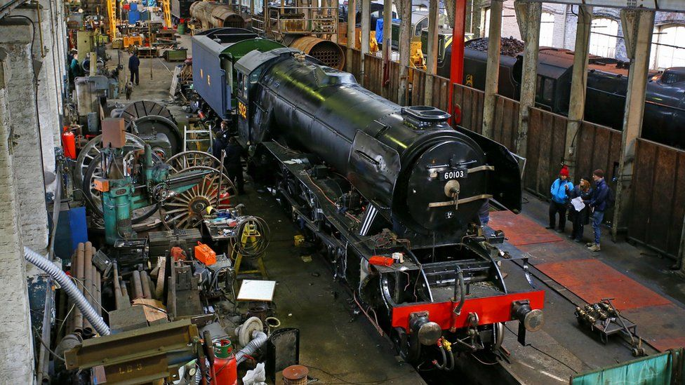 Work on the Flying Scotsman at the Bury site