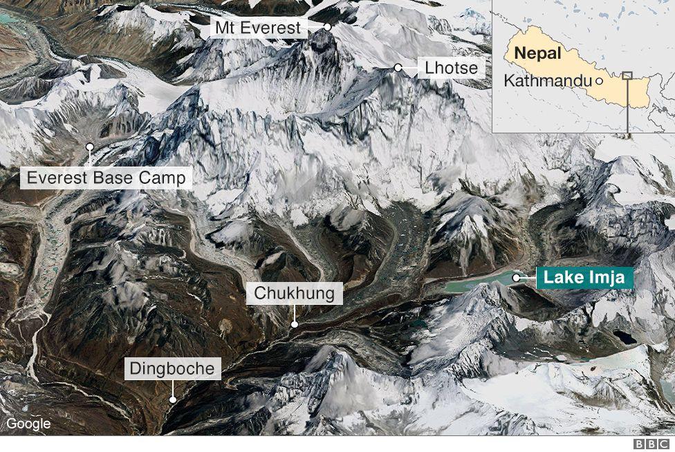 Lake Imja satellite image