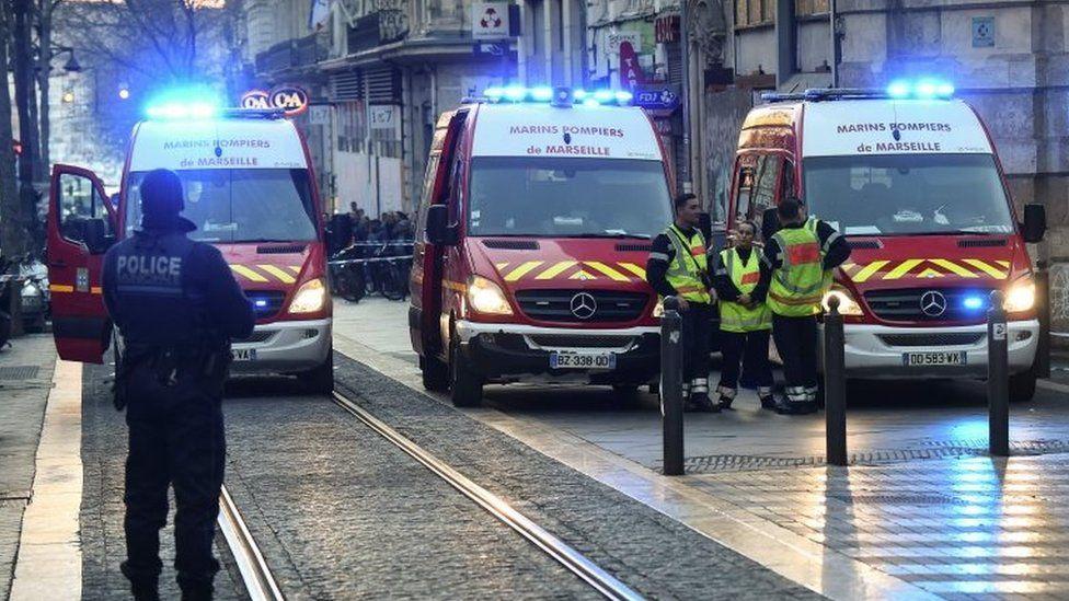 Ambulances at the scene