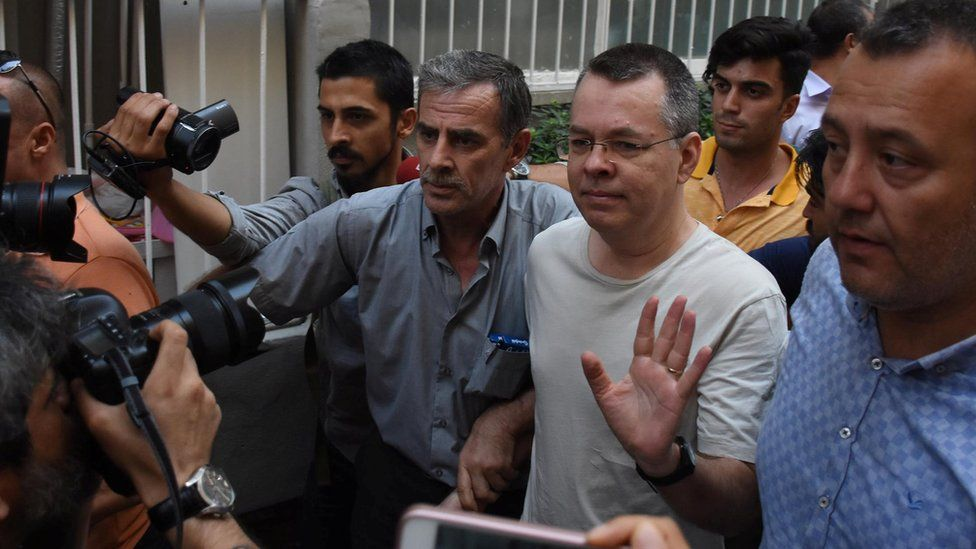 US pastor Andrew Brunson arrives at his home after being released from prison in Izmir, Turkey July 25, 2018