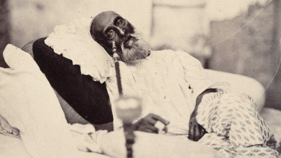 The only known photograph of Bahadur Shah Zafar II. The picture was taken by 'Mr Shepherd the photographer' after his trial in 1858.