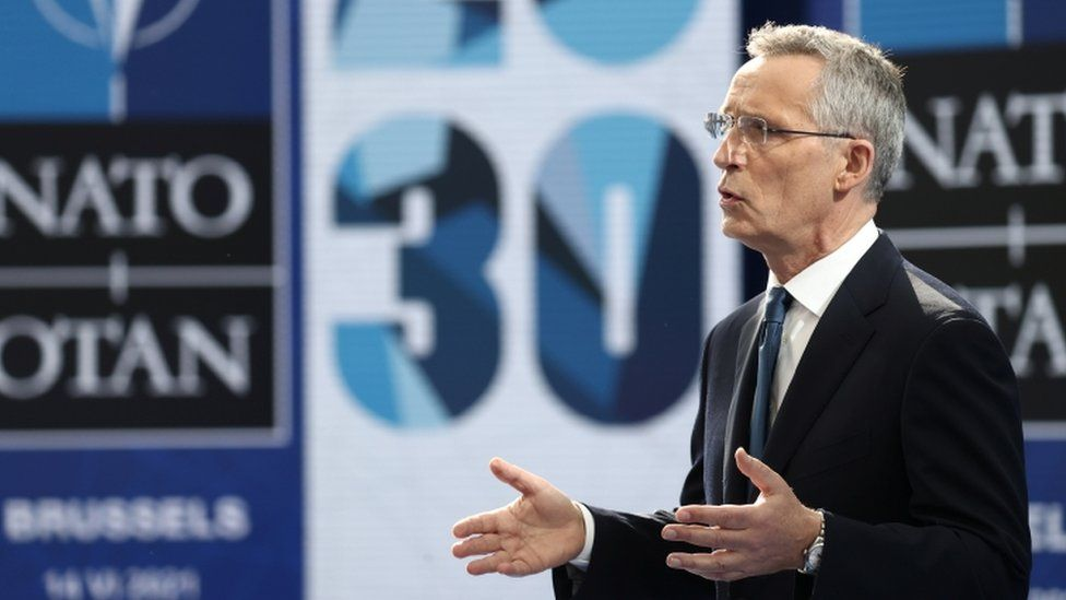 Nato Secretary General Jens Stoltenberg holds a news conference ahead of the summit